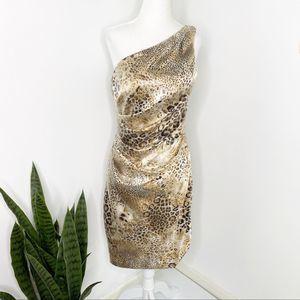 Eliza J | Sequin Animal Print One Shoulder Dress